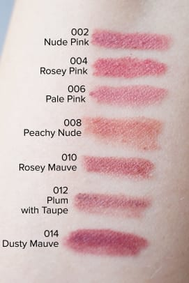 Bite Beauty The Lip Pencil swatches (002 to 014)