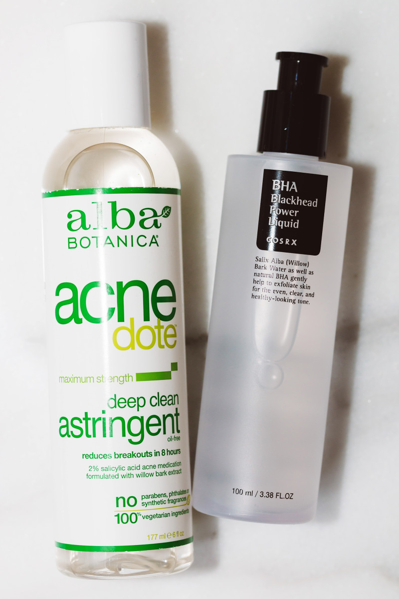 Alba Botanica Acnedote Deep Clean Astringent and COSRX BHA Blackhead Power Liquid