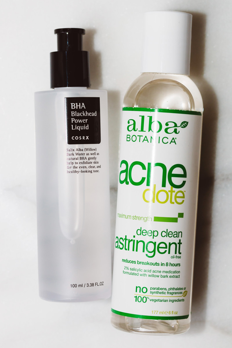 COSRX BHA Blackhead Power Liquid and Alba Botanica Acnedote Deep Clean Astringent