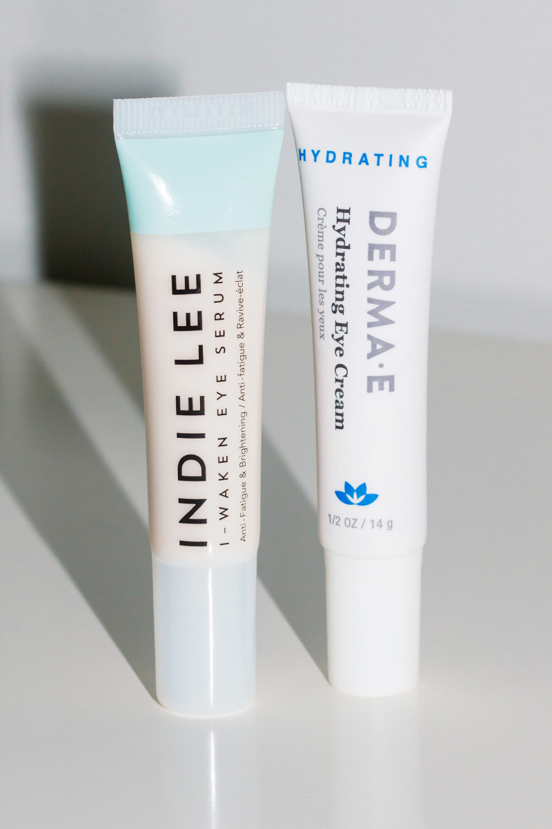 Indie Lee I-Waken Eye Serum and Derma E Hydrating Eye Cream