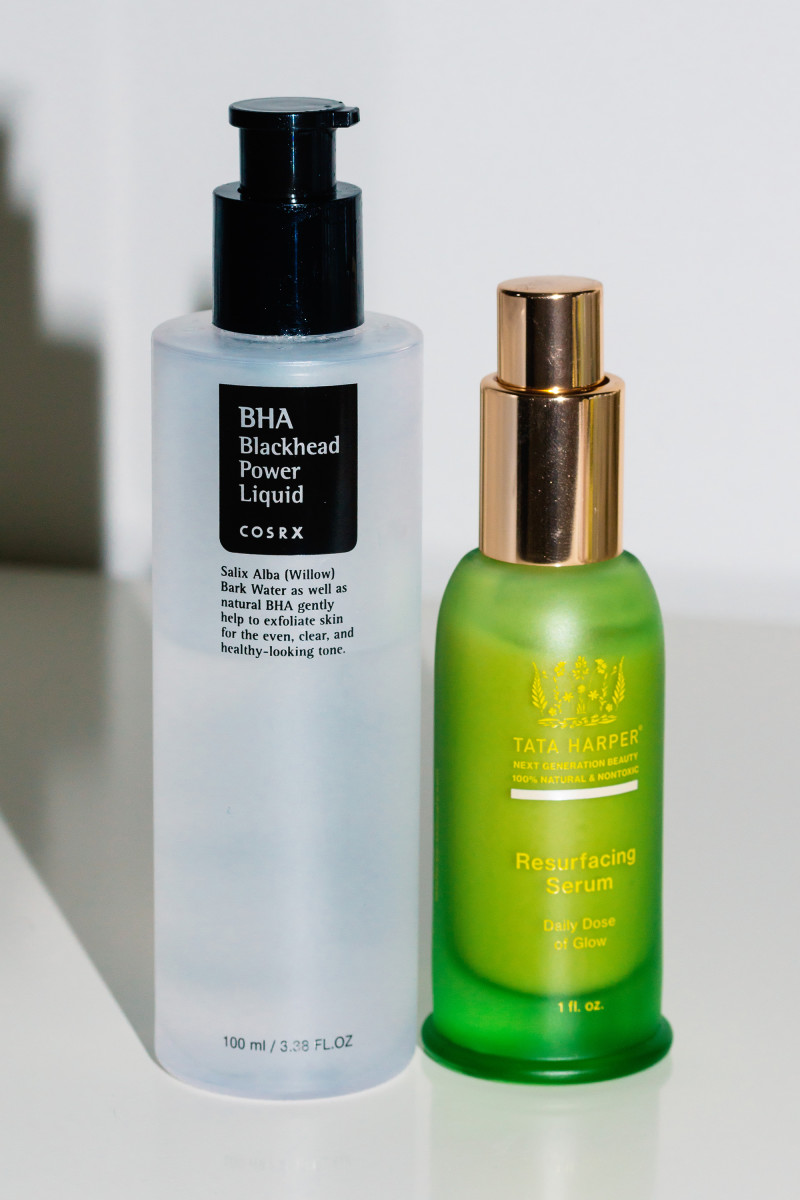 COSRX BHA Blackhead Power Liquid and Tata Harper Resurfacing Serum