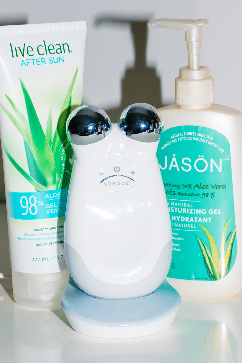 Live Clean After Sun Aloe Vera Gel, NuFace Trinity Facial Toning Device and Jason Aloe Vera Moisturizing Gel