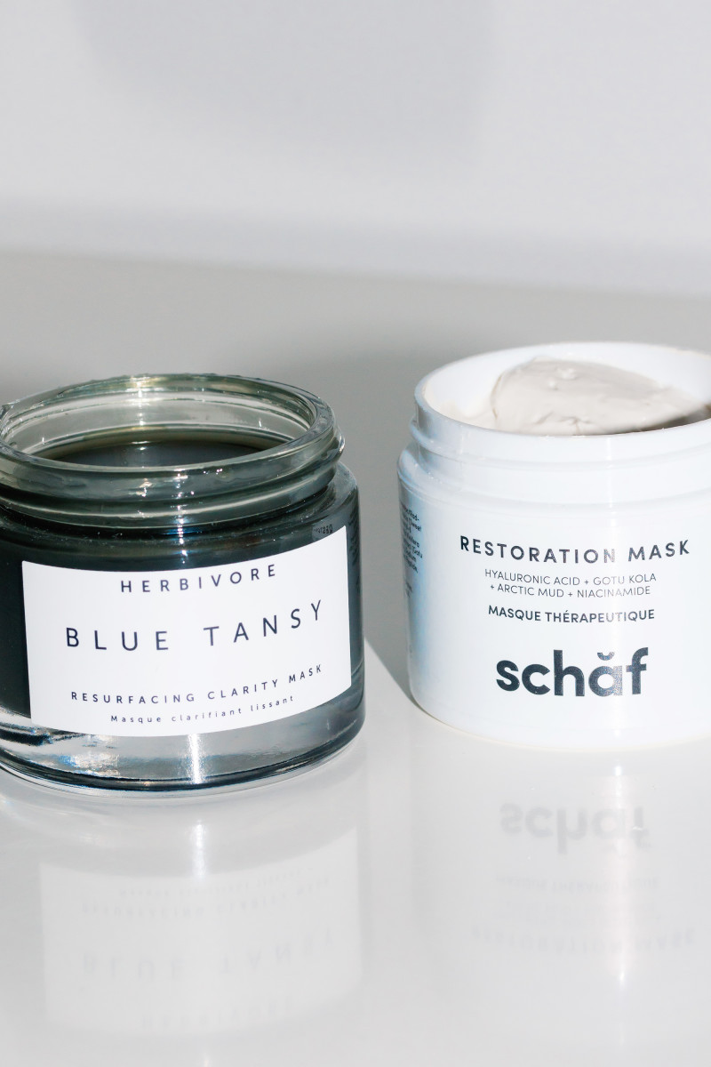 Herbivore Blue Tansy Resurfacing Clarity Mask and Schaf Restoration Mask
