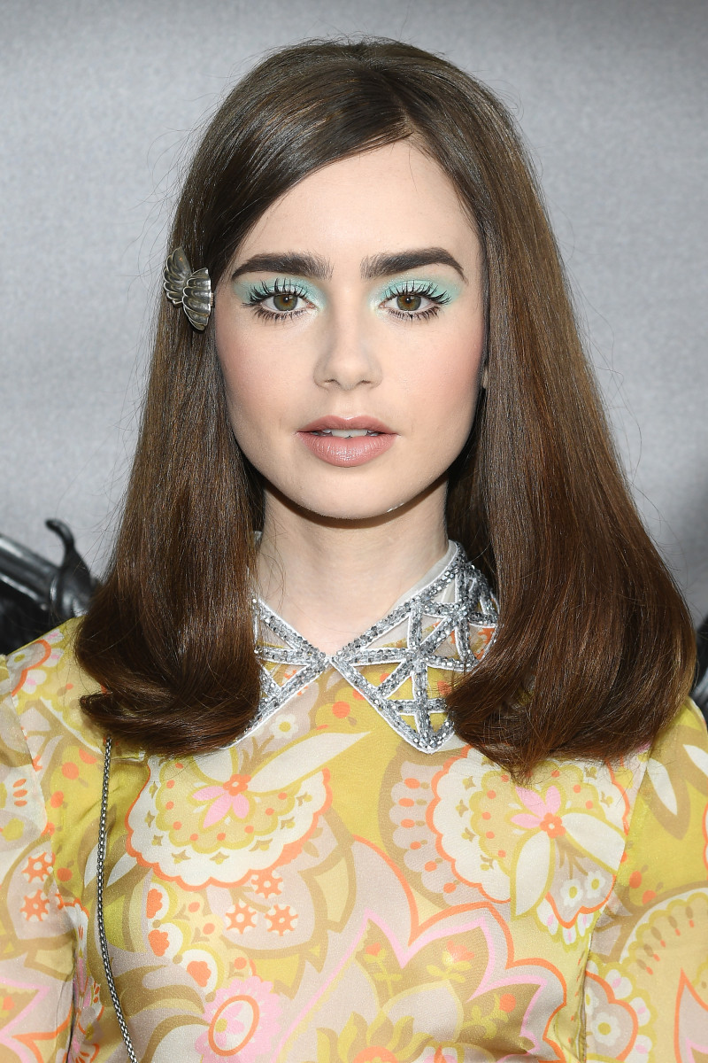 Lily Collins, Miu Miu Cruise Collection show, 2018