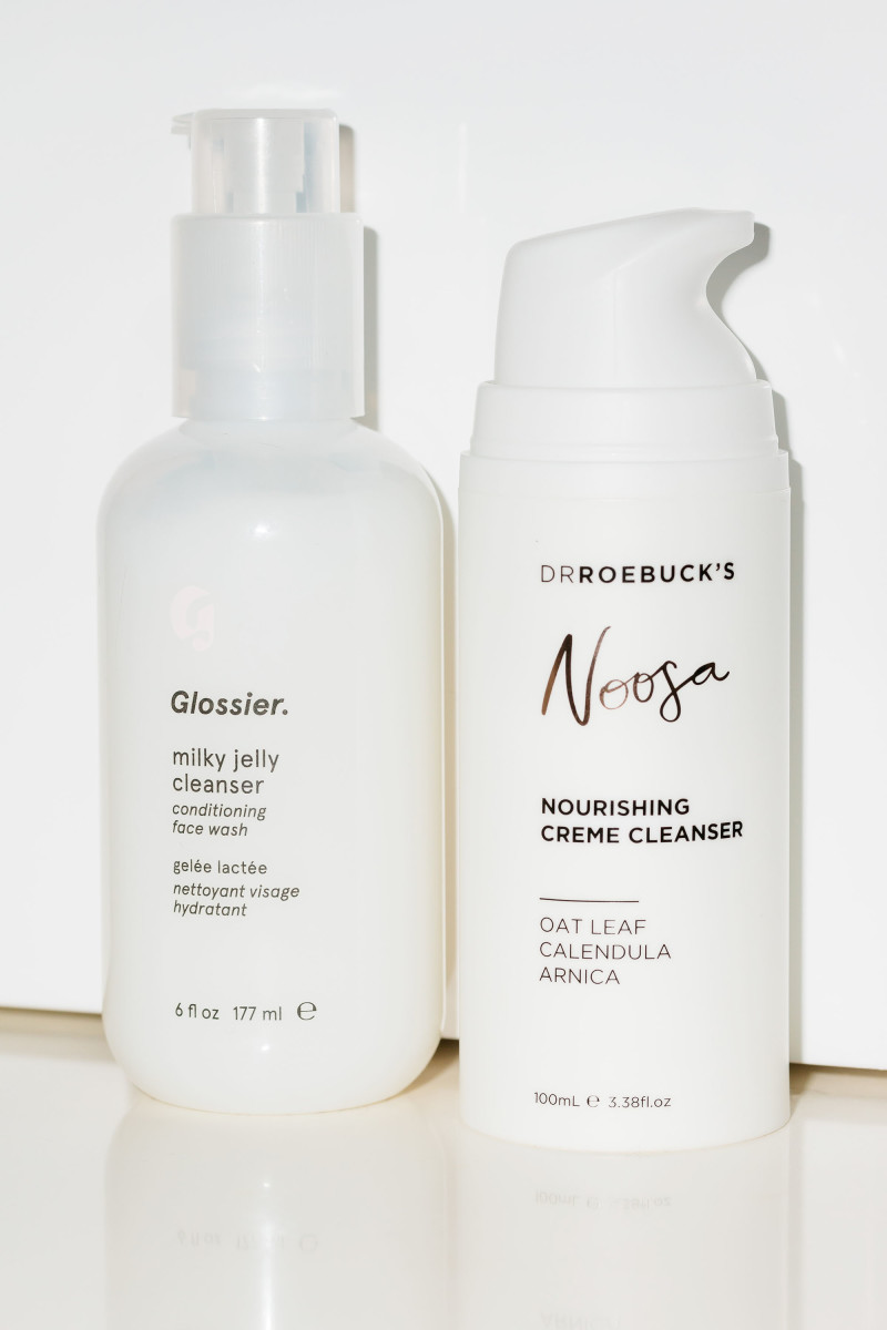 Glossier Milky Jelly Cleanser and Dr Roebuck's Noosa Nourishing Creme Cleanser