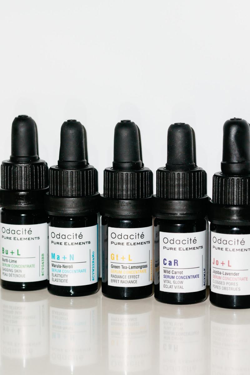 Odacite Buriti-Lime, Marula-Neroli, Green Tea-Lemongrass, Wild Carrot and Jojoba-Lavender Serum Concentrates