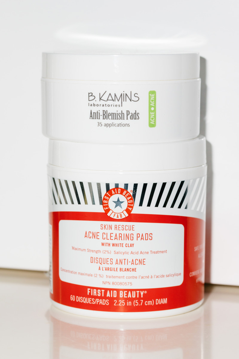B. Kamins Anti-Blemish Pads and First Aid Beauty Skin Rescue Acne Clearing Pads with White Clay