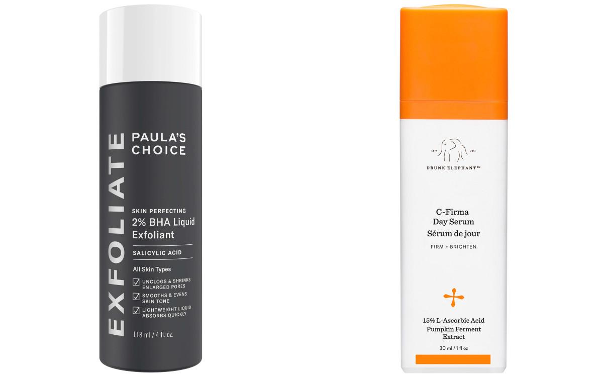 Paula's Choice Skin Perfecting 2 BHA Liquid Exfoliant Drunk Elephant C-Firma Day Serum
